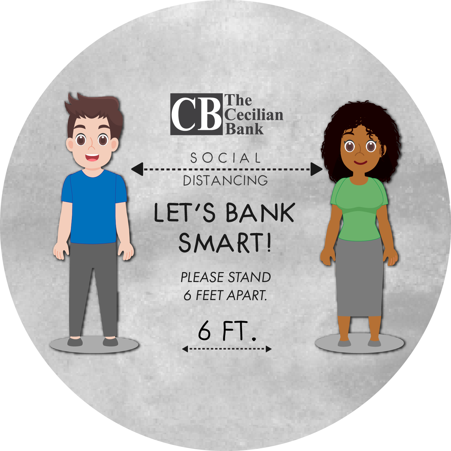 Let's Bank Smart - 6 ft. Apart Characters